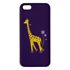 Purple Cute Cartoon Giraffe Apple iPhone 5 Premium Hardshell Case