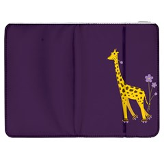 Purple Cute Cartoon Giraffe Samsung Galaxy Tab 7  P1000 Flip Case