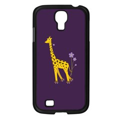 Purple Cute Cartoon Giraffe Samsung Galaxy S4 I9500/ I9505 Case (Black)