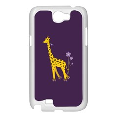 Purple Cute Cartoon Giraffe Samsung Galaxy Note 2 Case (White)