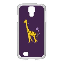 Purple Cute Cartoon Giraffe Samsung GALAXY S4 I9500/ I9505 Case (White)