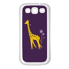 Purple Cute Cartoon Giraffe Samsung Galaxy S3 Back Case (white)