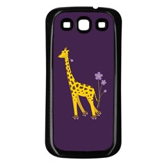 Purple Cute Cartoon Giraffe Samsung Galaxy S3 Back Case (black)
