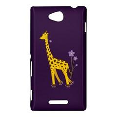 Purple Cute Cartoon Giraffe Sony Xperia C (S39H) Hardshell Case