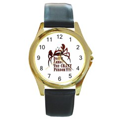 Crazy Person Round Leather Watch (gold Rim)