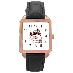 crazy person Rose Gold Leather Watch