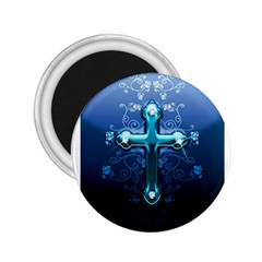 Glossy Blue Cross Live Wp 1 2 S 307x512 2.25  Button Magnet
