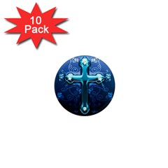 Glossy Blue Cross Live Wp 1 2 S 307x512 1  Mini Button Magnet (10 pack)