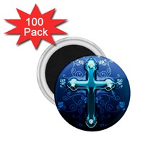 Glossy Blue Cross Live Wp 1 2 S 307x512 1.75  Button Magnet (100 pack)