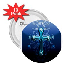 Glossy Blue Cross Live Wp 1 2 S 307x512 2.25  Button (10 pack)