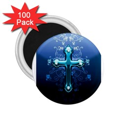 Glossy Blue Cross Live Wp 1 2 S 307x512 2.25  Button Magnet (100 pack)