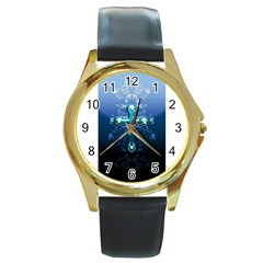 Glossy Blue Cross Live Wp 1 2 S 307x512 Round Leather Watch (gold Rim)
