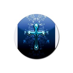 Glossy Blue Cross Live Wp 1 2 S 307x512 Drink Coasters 4 Pack (round)