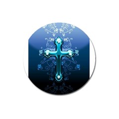 Glossy Blue Cross Live Wp 1 2 S 307x512 Magnet 3  (Round)