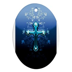 Glossy Blue Cross Live Wp 1 2 S 307x512 Oval Ornament (Two Sides)
