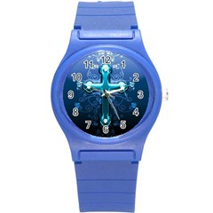 Glossy Blue Cross Live Wp 1 2 S 307x512 Plastic Sport Watch (small)
