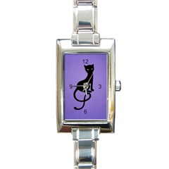 Purple Gracious Evil Black Cat Rectangular Italian Charm Watch