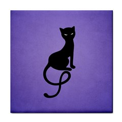 Purple Gracious Evil Black Cat Ceramic Tile