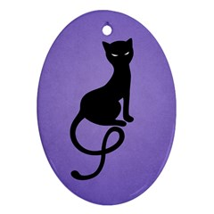 Purple Gracious Evil Black Cat Oval Ornament