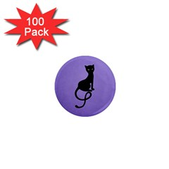 Purple Gracious Evil Black Cat 1  Mini Button Magnet (100 pack)