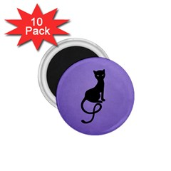 Purple Gracious Evil Black Cat 1.75  Button Magnet (10 pack)