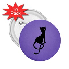 Purple Gracious Evil Black Cat 2 25  Button (10 Pack)