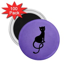 Purple Gracious Evil Black Cat 2.25  Button Magnet (100 pack)