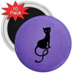 Purple Gracious Evil Black Cat 3  Button Magnet (10 Pack)
