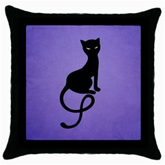 Purple Gracious Evil Black Cat Black Throw Pillow Case