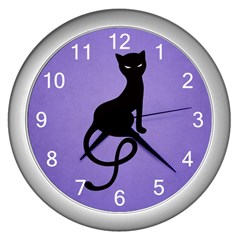 Purple Gracious Evil Black Cat Wall Clock (Silver)