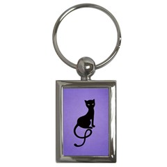 Purple Gracious Evil Black Cat Key Chain (Rectangle)
