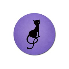 Purple Gracious Evil Black Cat Magnet 3  (Round)