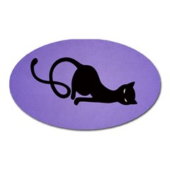Purple Gracious Evil Black Cat Magnet (Oval)
