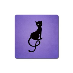Purple Gracious Evil Black Cat Magnet (Square)