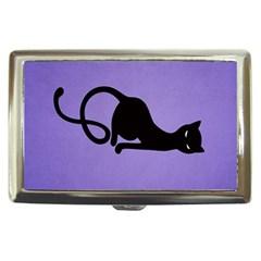 Purple Gracious Evil Black Cat Cigarette Money Case