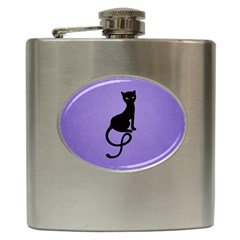 Purple Gracious Evil Black Cat Hip Flask