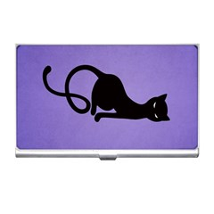 Purple Gracious Evil Black Cat Business Card Holder