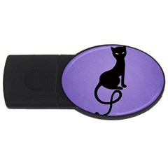 Purple Gracious Evil Black Cat 1GB USB Flash Drive (Oval)