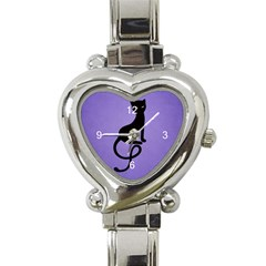Purple Gracious Evil Black Cat Heart Italian Charm Watch