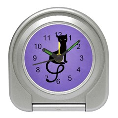 Purple Gracious Evil Black Cat Desk Alarm Clock