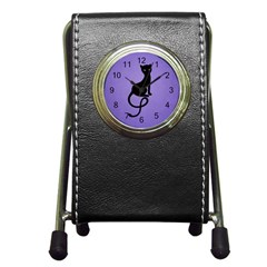 Purple Gracious Evil Black Cat Stationery Holder Clock