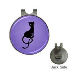 Purple Gracious Evil Black Cat Hat Clip with Golf Ball Marker
