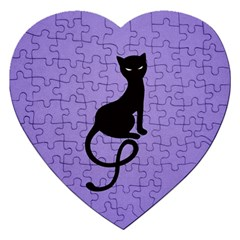 Purple Gracious Evil Black Cat Jigsaw Puzzle (Heart)