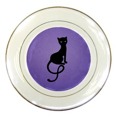 Purple Gracious Evil Black Cat Porcelain Display Plate