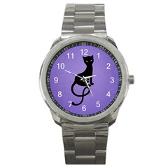 Purple Gracious Evil Black Cat Sport Metal Watch