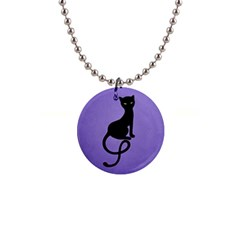 Purple Gracious Evil Black Cat Button Necklace