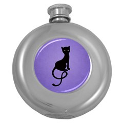 Purple Gracious Evil Black Cat Hip Flask (Round)
