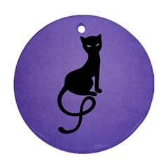 Purple Gracious Evil Black Cat Round Ornament (Two Sides)