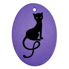 Purple Gracious Evil Black Cat Oval Ornament (two Sides)