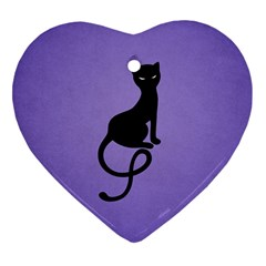 Purple Gracious Evil Black Cat Heart Ornament (Two Sides)